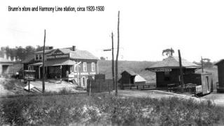 Brunn's Store and Harmony Line Station, circa 1920-1930